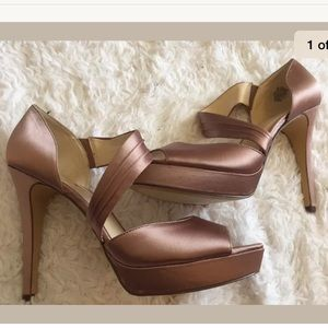 NINe west pink satin heels size 11